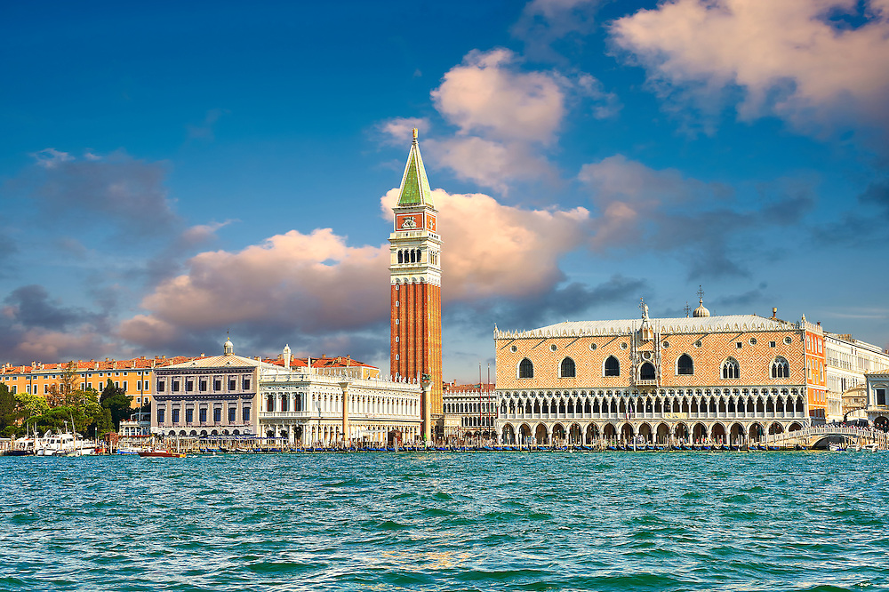 The Doges Palace  and Campinale of St Mark from the Saint Mark's Basin Venice .<br /> <br /> Visit our ITALY HISTORIC PLACES PHOTO COLLECTION for more   photos of Italy to download or buy as prints https://funkystock.photoshelter.com/gallery-collection/2b-Pictures-Images-of-Italy-Photos-of-Italian-Historic-Landmark-Sites/C0000qxA2zGFjd_k<br /> <br /> <br /> Visit our MEDIEVAL PHOTO COLLECTIONS for more   photos  to download or buy as prints https://funkystock.photoshelter.com/gallery-collection/Medieval-Middle-Ages-Historic-Places-Arcaeological-Sites-Pictures-Images-of/C0000B5ZA54_WD0s
