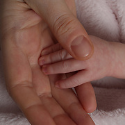 A  three week old baby girl holds her mothers hand while breast feeding. Photo Tim Clayton