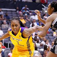 22 June 2014: forward/center Sandrine Gruda (7) of the Los Angeles Sparks drives past center Kayla Alexander (40) of the San Antonio Stars during the San Antonio Stars 72-69 victory over the Los Angeles Sparks, at the Staples Center, Los Angeles, California, USA.