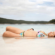 Paola floats in Lake McKenzie on Fraser Island.