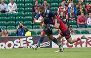 """Twickenham, Surrey United Kingdom. USA's, Andrew DURUTALO, running in to touch down, during the Pool A game USA vs Waleas at the  """"2017 HSBC London Rugby Sevens"""",  Saturday 20/05/2017 RFU. Twickenham Stadium, England    <br /> <br /> [Mandatory Credit Peter SPURRIER/Intersport Images]"""