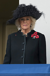 © Licensed to London News Pictures. 12/11/2017. London, UK.  CAMILLA DUCHESS OF CORNWALL attend a Day Ceremony at the Cenotaph war memorial in London, United Kingdom, on November 13, 2016 . Thousands of people honour the war dead by gathering at the iconic memorial to lay wreaths and observe two minutes silence. Photo credit: Ray Tang/LNP
