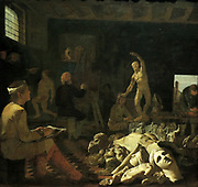 A Painter's Studio by Michael Sweerts (1618-1664) oil on canvas, c. 1648-1850.  Like so many artists, Sweerts undertook a study trip to Rome.  There he painted this scene of a painter's studio, in which all the phases of artistic training are to be seen.  At the left a young artist studies a large anatomical figure; piled up at the right are fragments of antique statues.  In the left background a painter sketches from a nude model; a completed painting hangs on the wall.