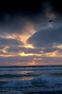 Cruising at 160 knots over the Pacific at+sunset from Torrey Pines State Beach, San Diego County, CALIFORNIA