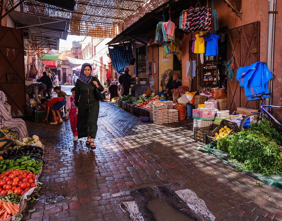 MARRAKESH, MOROCCO - CIRCA APRIL 2017:  Rue Bab Doukkala in Marrakesh. This is a local area close to the Medina.