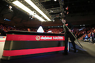 Ronnie O'Sullivan (Eng) walks towards the table as he is announced to the crowd before the match.  Ronnie O'Sullivan (Eng) v Neil Robertson (Aus), Quarter-Final match at the Dafabet Masters Snooker 2017, at Alexandra Palace in London on Thursday 19th January 2017.<br /> pic by John Patrick Fletcher, Andrew Orchard sports photography.