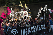 April, 21st, 2019 - London, Greater London, United Kingdom: Protesters march with skeletons of animals in danger of extinction from Parliament Square to Marble Arch. Demonstration against Climate Crisis. Extinction Rebellion is demanding the UK government takes urgent action on climate change and wildlife declines. Extinction Rebellion activists disrupt traffic around famous London Landmarks. Thousands of protesters  converging on central hubs including Oxford Circus and Parliament Square. Nigel Dickinson/Polaris