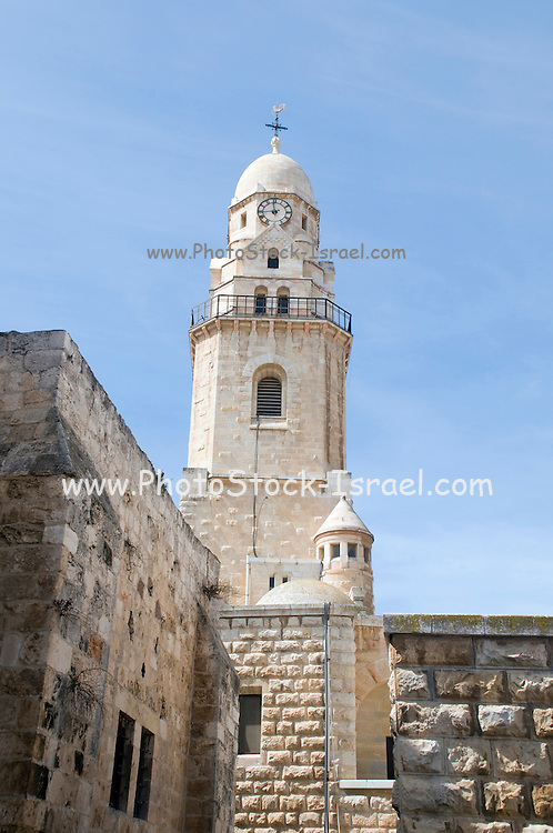 Israel, Jerusalem, The belfry of Hagia Maria Sion Abbey (Dormition Abbey) is a Benedictine abbey in Jerusalem on Mt. Zion just outside the walls of the Old City near the Zion Gate. It was formerly known as the Abbey of the Dormition of the Virgin Mary, but the name was changed in 1998 in reference to the church of Hagia Sion that formerly stood on this spot.