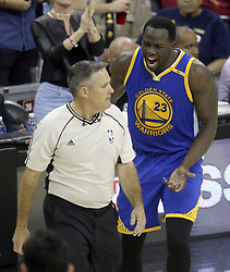 June 7, 2017 - Cleveland, OH, USA - The Golden State Warriors' Draymond Green questions an official's second-quarter foul call in Game 3 of the NBA Finals against the Cleveland Cavaliers on Wednesday, June 7, 2017, at Quicken Loans Arena in Cleveland. (Credit Image: © Phil Masturzo/TNS via ZUMA Wire)