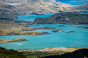 Blue-green Lago Pehoe seen from Mirador Frances, in Torres del Paine National Park, Ultima Esperanza Province, Chile, Patagonia, South America. The Park is listed as a World Biosphere Reserve by UNESCO.