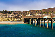 The pier at Bechers Bay, Santa Rosa Island, Channel Islands National Park, California USA