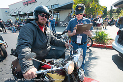 Jason Sims arrives at the final checkpoint before the finish on his 1939 Harley-Davidson Knucklehead during Stage 16 (142 miles) of the Motorcycle Cannonball Cross-Country Endurance Run, which on this day ran from Yakima to Tacoma, WA, USA. Sunday, September 21, 2014.  Photography ©2014 Michael Lichter.