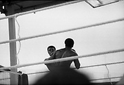 Ali vs Lewis Fight, Croke Park,Dublin.<br /> 1972.<br /> 19.07.1972.<br /> 07.19.1972.<br /> 19th July 1972.<br /> As part of his built up for a World Championship attempt against the current champion, 'Smokin' Joe Frazier,Muhammad Ali fought Al 'Blue' Lewis at Croke Park,Dublin,Ireland. Muhammad Ali won the fight with a TKO when the fight was stopped in the eleventh round.<br /> <br /> Both fighters prepare to trade blows.