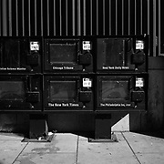 Empty newspaper boxes no longer in use before they were removed at the corner of Connecticut Avenue NW and K Street NW in Washington, D.C., USA.<br /> <br /> (Credit Image: © Louie Palu/ZUMA Press)