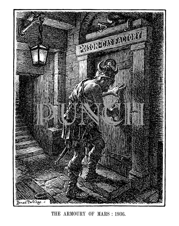 The Armoury of Mars: 1936. (The God of War, Mars, is about to enter his Poison-Gas Factory in a downstairs cellar)