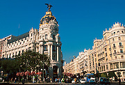 SPAIN, MADRID Gran Via, lined with bank buildings