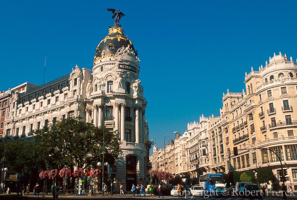 SPAIN, MADRID Gran Via, lined with bank buildings