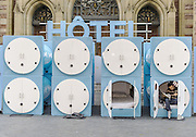 Montreal, QC, Canada - <br /> <br /> Nap-Time Hotel in Montreal<br /> <br /> A ''hotel'' featuring tiny cubicles each fitted with a mattress and pillow in front of a church on rue Sainte-Catherine in downtown Montreal offers weary passers-by a chance to take a quick nap. <br /> ©Exclusivepix