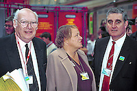 Jimmy Knapp, NUR, Mo Mowlem, Labour MP, and Lew Adams, ex-ASLEF trade union official,at Labour Party Annual Conference, 199810023.<br />