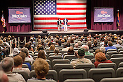 June 4 - MESA, AZ: Former Gov. MITT ROMNEY (left) and US Senator JOHN MCCAIN appear at a McCain town hall meeting at Mesa High School in Mesa, AZ, Friday. US Senator John McCain and former Massachusetts Governor Mitt Romney appeared together in a McCain town hall meeting in Mesa, AZ, Friday to promote McCain's reelection campaign. The long serving Republican US Senator is in a tight primary battle with former Congressman JD Hayworth who is running on a conservative plank against McCain.   Photo By Jack Kurtz