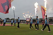 Worcestershire Rapids go out to field during the final of the Vitality T20 Finals Day 2018 match between Worcestershire rapids and Sussex Sharks at Edgbaston, Birmingham, United Kingdom on 15 September 2018.