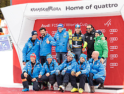 05.03.2017, Podkoren, Kranjska Gora, SLO, FIS Weltcup Ski Alpin, Kranjska Gora, Slalom, Herren, Siegerehrung, im Bild Stefano Gross (ITA, 2. Platz) mit Team // second placed Stefano Gross of Italy with Team during the winner Ceremony for the men's Slalom of FIS Ski Alpine World Cup at the Podkoren in Kranjska Gora, Slovenia on 2017/03/05. EXPA Pictures © 2017, PhotoCredit: EXPA/ Johann Groder