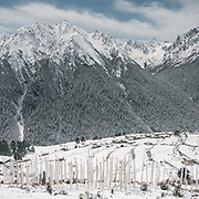 Views over Laya village after a snow storm.