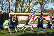 Fleetwood Town's forward Kyle Vassell (18) headers the ball during the EFL Sky Bet League 1 match between Fleetwood Town and Accrington Stanley at the Highbury Stadium, Fleetwood, England on 27 February 2021.