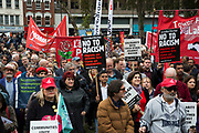 People gather in Altab Ali Park for the Cable Street 80 march and rally through Whitechapel to mark the 80th anniversary of the Battle of Cable Street on 9th October 2016 in London, United Kingdom. The demonstration marks the day when tens of thousands of people across the East End, joined by others who came to support them, prevented Oswald Mosley's British Union of Fascists invading the Jewish areas of the East End. The day, which is recognised as a major turning point in the struggle against fascism in Britain in the 1930s.
