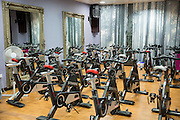 A room set up with lots of exercise bikes for a fitness spinning class in London, England, United Kingdom.<br /> (photo by Andrew Aitchison / In pictures via Getty Images)