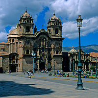 South America; Peru; Cusco. La Compania church and main square.
