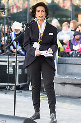 © Licensed to London News Pictures. 05/03/2017. BIANCA JAGGER takes part in a rally raising awareness of women and girls in third world countries who spend days walking for water. March also marks CARE's annual celebration for International Women's Day. London, UK. Photo credit: Ray Tang/LNP