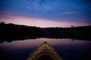 Sunset from a kayak in Buckingham County, Va.