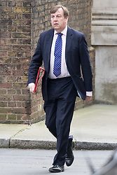 Downing Street, London, March 8th 2016. Culture, Media and Sport Secretary John Whittingdale arrives for the weekly UK cabinet meeting at Downing Street. ©Paul Davey<br /> FOR LICENCING CONTACT: Paul Davey +44 (0) 7966 016 296 paul@pauldaveycreative.co.uk