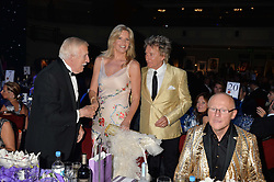 SIR BRUCE FORSYTH, PENNY LANCASTER and ROD STEWART at The Butterfly Ball in aid of Caudwell Children held at the Grosvenor House, Park Lane, London on 25th June 2015