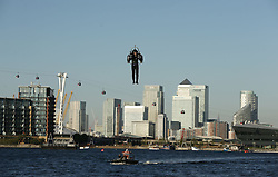 David Mayman pilots the JB-10 Jetpack flying machine over the Royal Victoria Docks in east London on its maiden flight in the UK to mark the launch of an equity crowdfunding campaign on Seedrs.