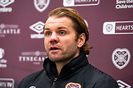 Heart of Midlothian manager Robbie Neilson speaks to the media during the Heart of Midlothian press conference and training session at Oriam Sports Performance Centre, Edinburgh, Scotland on 23 November 2020.