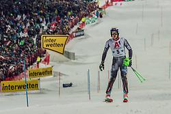 "29.01.2019, Planai, Schladming, AUT, FIS Weltcup Ski Alpin, Slalom, Herren, 2. Lauf, im Bild Henrik Kristoffersen (NOR) // Henrik Kristoffersen of Norway in action his 2nd run of men's Slalom ""the Nightrace"" of FIS ski alpine world cup at the Planai in Schladming, Austria on 2019/01/29. EXPA Pictures © 2019, PhotoCredit: EXPA/ Dominik Angerer"