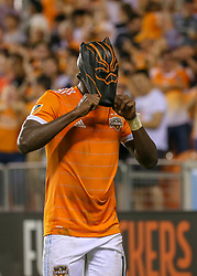 May 25, 2018 - Houston, TX, U.S. - HOUSTON, TX - MAY 25:  Houston Dynamo forward Alberth Elis (17) dons a panther mask after scoring a goal in the second half of the MLS match between the New York FC and Houston Dynamo on May 25, 2018 at BBVA Compass Stadium in Houston, Texas.  (Photo by Leslie Plaza Johnson/Icon Sportswire) (Credit Image: © Leslie Plaza Johnson/Icon SMI via ZUMA Press)