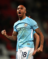 Manchester City's Fabian Delph celebrates their victory after the final whistle