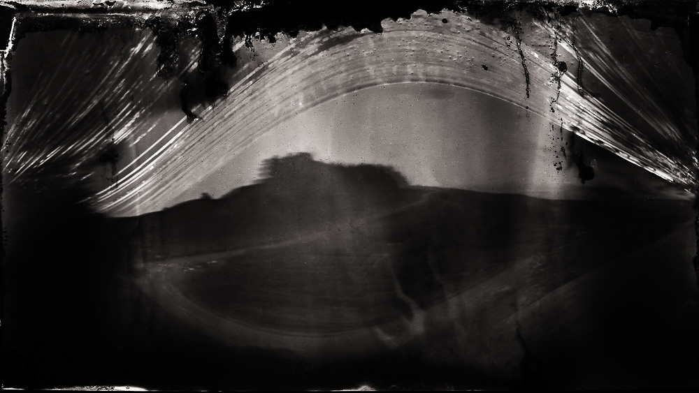 """The road to nowhere; Port Hills.<br /> 2013 / 2014 (8 months).<br /> 167mm x 297mm (image size).<br /> 395mm x 500mm (framed).<br /> Pigment ink on paper.<br /> <br /> First shown at the exhibition """"Ph4 – Debut"""", Chamber Gallery, Rangiora (2014)."""