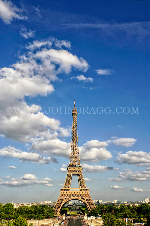The Eiffel Tower, with a view of the sky, Paris France.