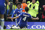 Willian of Chelsea celebrates scoring his sides 3rd goal . Premier league match, Chelsea v Stoke city at Stamford Bridge in London on Saturday 31st December 2016.<br /> pic by John Patrick Fletcher, Andrew Orchard sports photography.