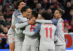 13.03.2019, CL, Champions League, Achtelfinale Rueckspiel, FC Bayern Muenchen vs FC Liverpool, Allianz Arena Muenchen , Fussball, Sport im Bild:.. 0:1 Jubel, Trent Alexander-Arnold (FC Liverpool), Dejan Lovren (FC Liverpool), Georginio Wijnaldum (FC Liverpool), Mohamed Salah (FC Liverpool) und Roberto Firmino (FC Liverpool)..DFL REGULATIONS PROHIBIT ANY USE OF PHOTOGRAPHS AS IMAGE SEQUENCES AND / OR QUASI VIDEO...Copyright: Philippe Ruiz..Tel: 089 745 82 22.Handy: 0177 29 39 408.e-Mail: philippe_ruiz@gmx.de (Credit Image: © Philippe Ruiz/Xinhua via ZUMA Wire)