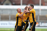 Joss Labadie of Newport county © celebrates with teammates David Pipe (l) and Ben Tozer ® after he scores his teams 2nd goal. EFL Skybet football league two match, Newport county v Yeovil Town at Rodney Parade in Newport, South Wales on Saturday 7th October 2017.<br /> pic by Andrew Orchard,  Andrew Orchard sports photography.