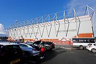 Exterior view of the Alexandra Stadium during the EFL Sky Bet League 1 match between Crewe Alexandra and AFC Wimbledon at Alexandra Stadium, Crewe, England on 23 January 2021.