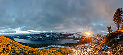 """""""Donner Lake Sunset 60"""" - Stitched panoramic photograph of Donner Lake in Truckee, California and a sunburst above Donner Summit at sunset."""