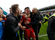 Wycombe Wanderers Luke O'Nien(17) celebrates promotion during the EFL Sky Bet League 2 match between Chesterfield and Wycombe Wanderers at the b2net stadium, Chesterfield, England on 28 April 2018. Picture by Paul Thompson.