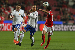 December 5, 2017 - Lisbon, Lisbon, Portugal - Benficas forward Diogo Goncalves from Portugal (R) and Fc Basel defender Michael Lang from Switzerland (L) during the match between SL Benfica v FC Basel UEFA Champions League playoff match at Luz Stadium on December 5, 2017 in Lisbon, Portugal. (Credit Image: © Dpi/NurPhoto via ZUMA Press)