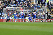 Wigan Athletic's Arouna Kone (2 in centre) gets the last touch to score the 1st goal. Barclays Premier league, Reading v Wigan Athletic at the Madejski Stadium in Reading on Saturday 23rd Feb 2013. pic by Andrew Orchard, Andrew Orchard sports photography,